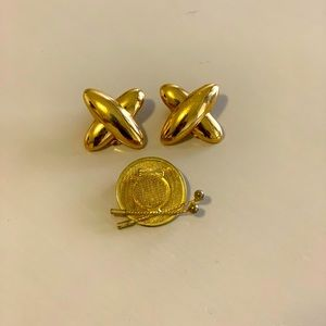 Monet clip gold earring and vintage brooch